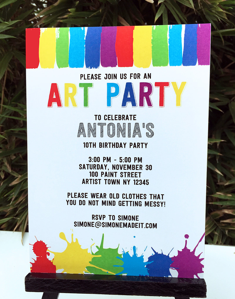Art Birthday Party Theme Printables | Paint Party - Free Printable Event Invitations