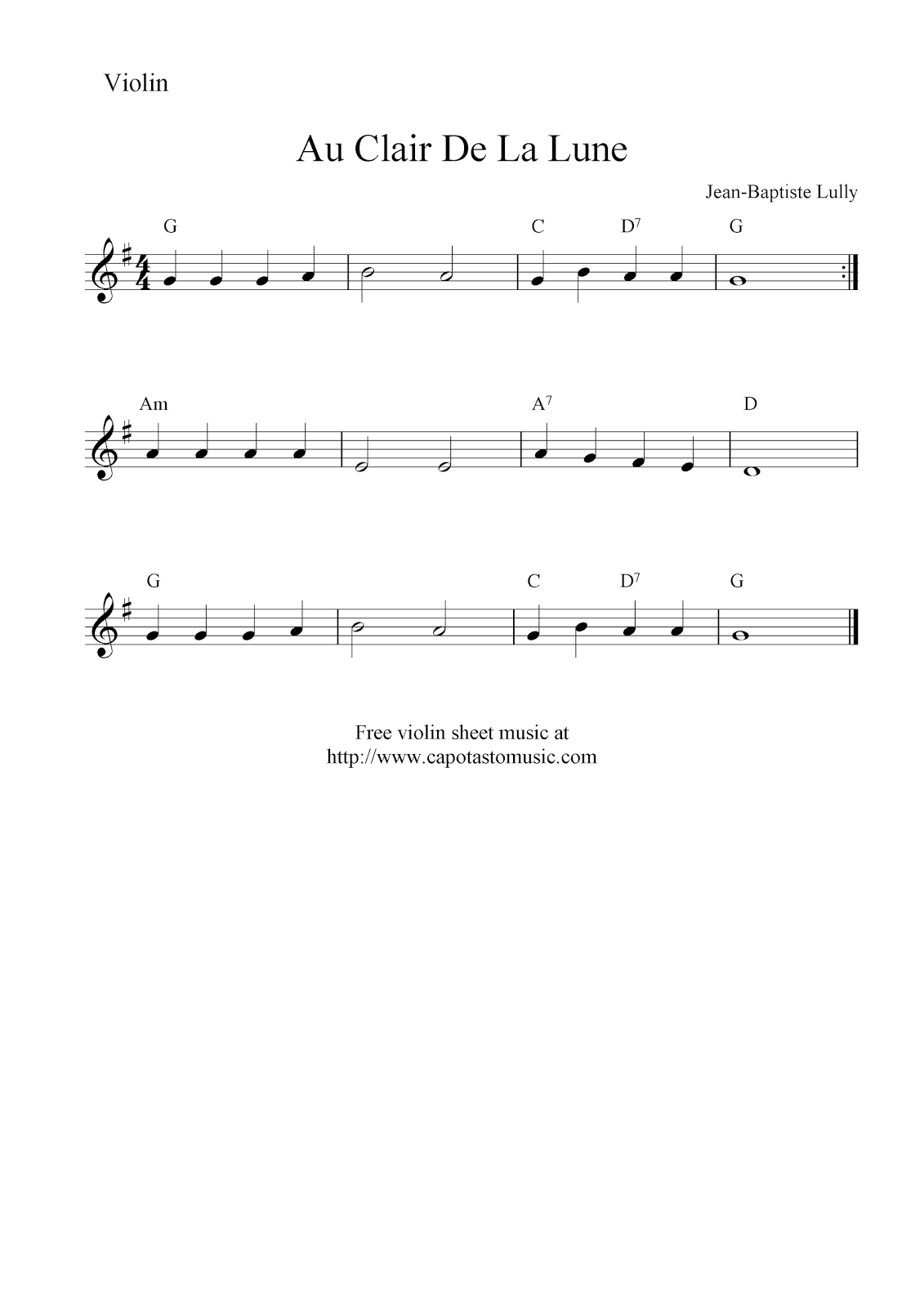 Au Clair De La Lune, Free Violin Sheet Music Notes - Free Printable Australian Notes
