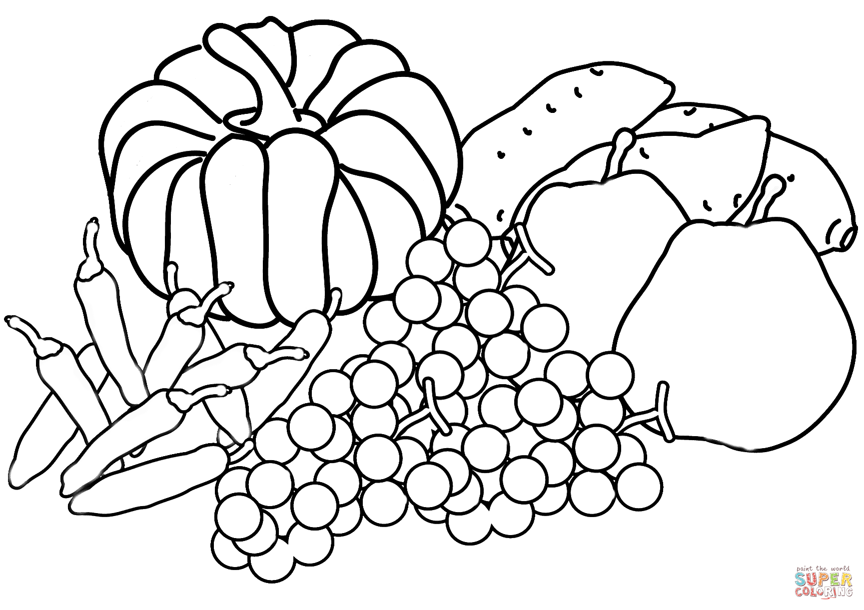Autumn Harvest Coloring Page | Free Printable Coloring Pages - Free Printable Fall Harvest Coloring Pages