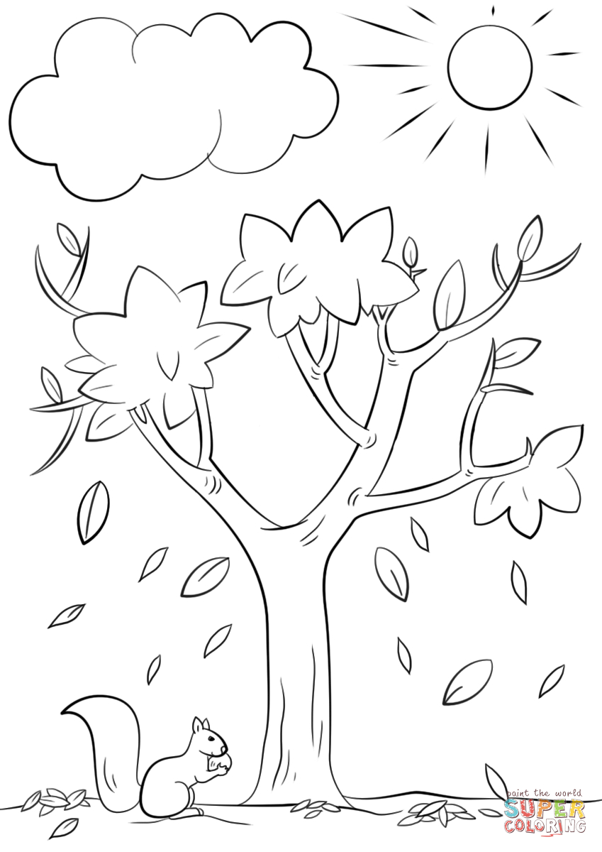 Autumn Tree Coloring Page | Free Printable Coloring Pages - Free Printable Coloring Pages Fall Season