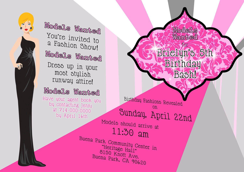 Awesome Free Template Fashion Show Birthday Party Invitations - Free Printable Fashion Templates