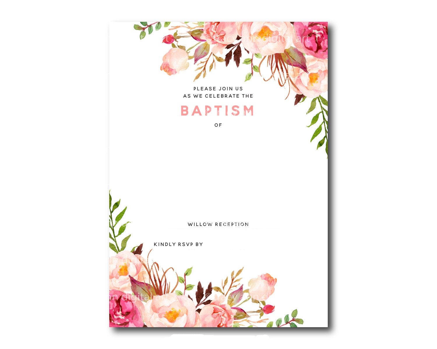 Awesome Free Template Free Printable Baptism Floral Invitation - Free Printable Personalized Baptism Invitations