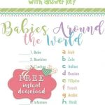 Baby Around The World   Baby Shower Game. Free Printable Baby Shower   Free Printable Baby Shower Games With Answer Key