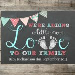 Baby / Pregnancy Announcement We're Adding A Little More Love To Our   Free Printable Pregnancy Announcement Cards