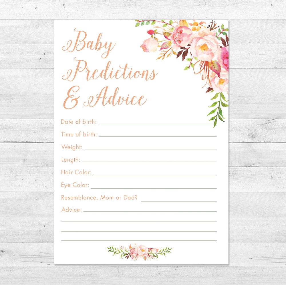 Baby Shower Prediction Card Printable Boho Baby Shower Games | Etsy - Baby Prediction And Advice Cards Free Printable