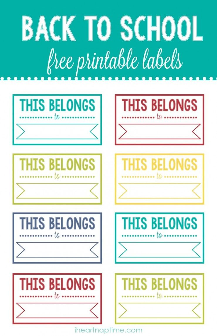 Back To School Printable Labels | Pins I Love | Pinterest | School - Free Printable Back To School