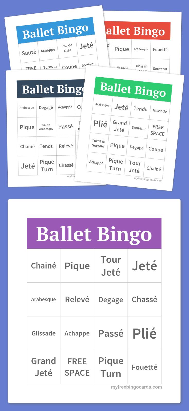 Ballet Bingo   Dance In 2019   Bingo, Bingo Cards, Word Bingo - Free Printable Self Esteem Bingo