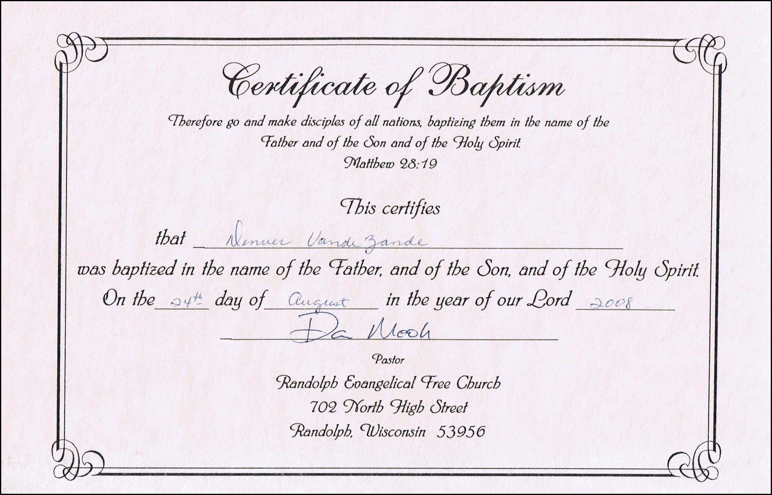 Baptism Certificates Free Online   Denver's Certificate Of Baptism - Free Online Printable Baptism Certificates