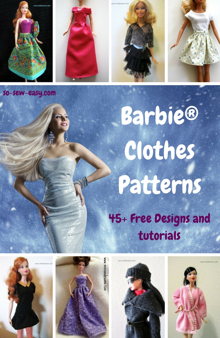 Barbie Clothes Patterns: 45+ Free Designs & Tutorials - So Sew Easy - Barbie Dress Patterns Free Printable Pdf