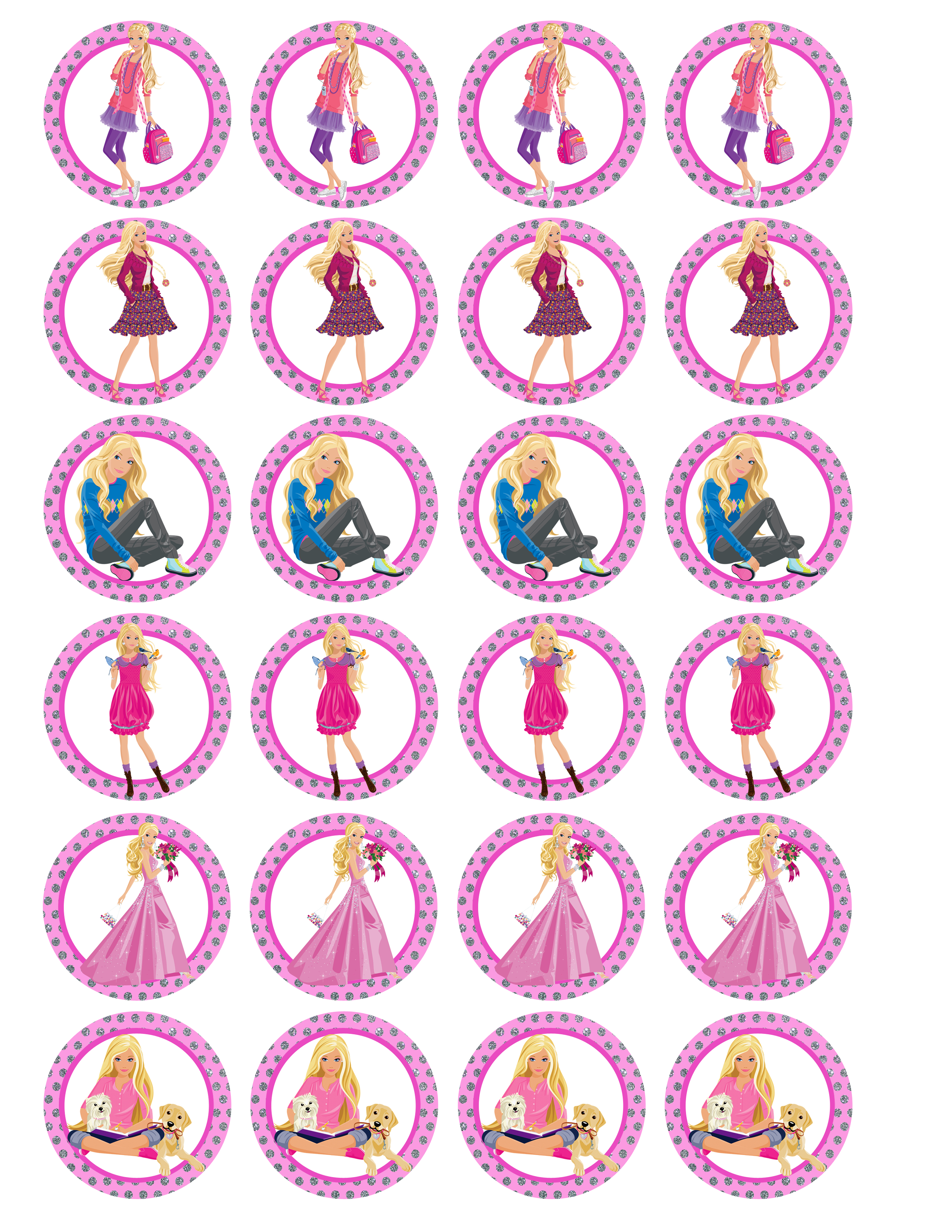 Barbie Party - Creative Printables - Free Printable Barbie Cupcake Toppers