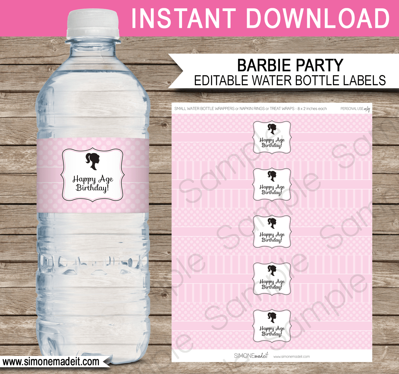Barbie Party Water Bottle Labels | Editable Template - Free Printable Paris Water Bottle Labels