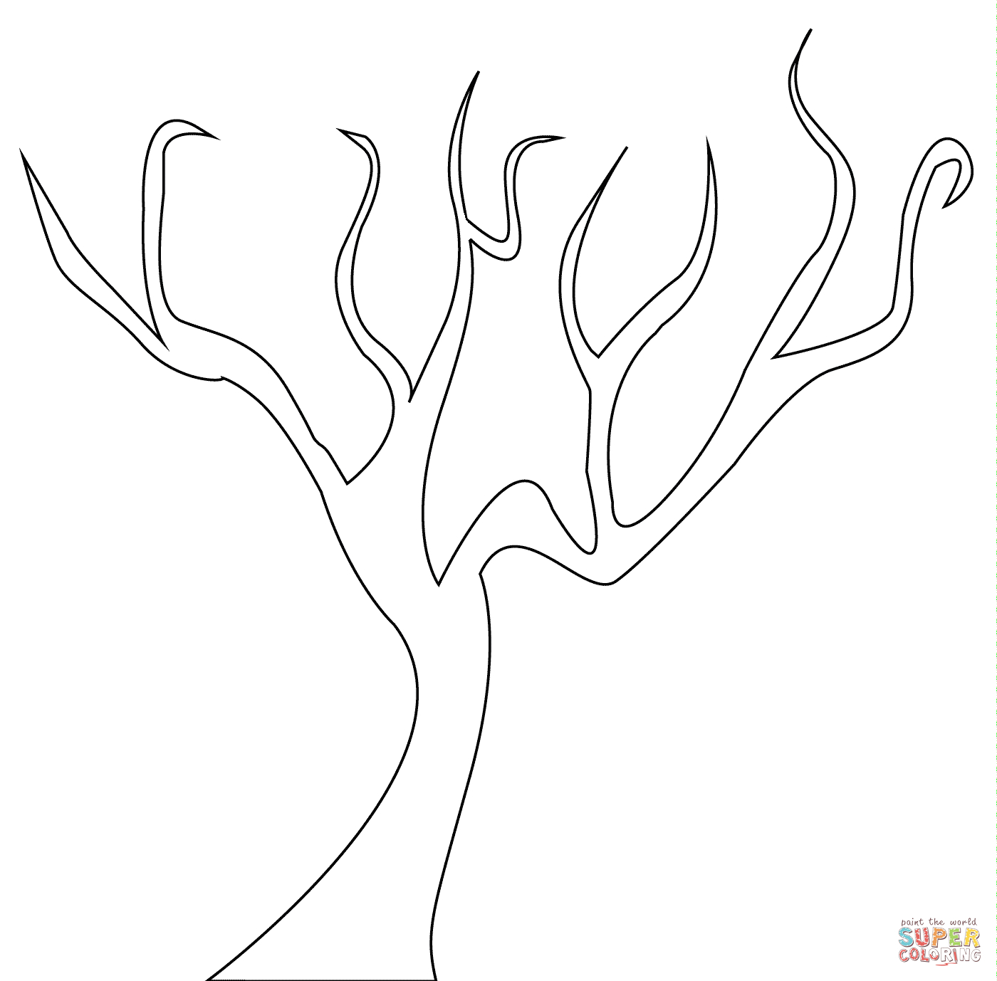 Bare Tree Coloring Page | Free Printable Coloring Pages - Tree Coloring Pages Free Printable