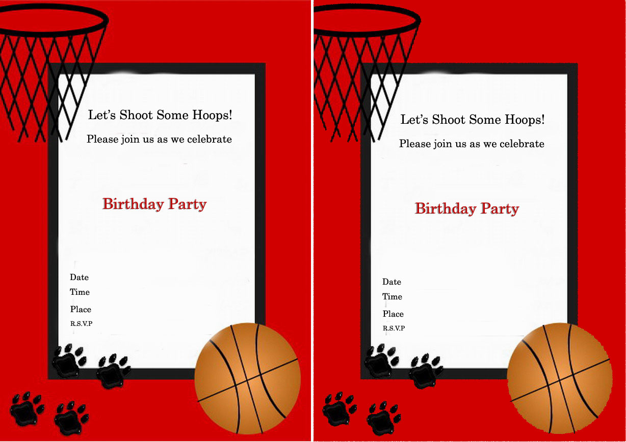Basketball Birthday Party Invitations — Birthday Invitation Examples - Basketball Invites Free Printable