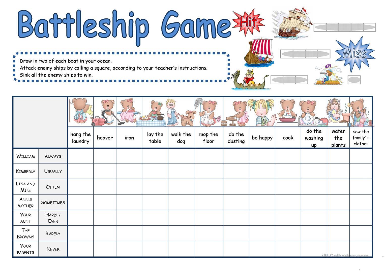 Battleship Game Worksheet - Free Esl Printable Worksheets Made - Free Printable Battleship Game