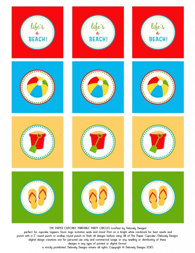 Beach Party! Toppers And Banner! Free Printable.   Crafts I Love - Free Printable Party Circles