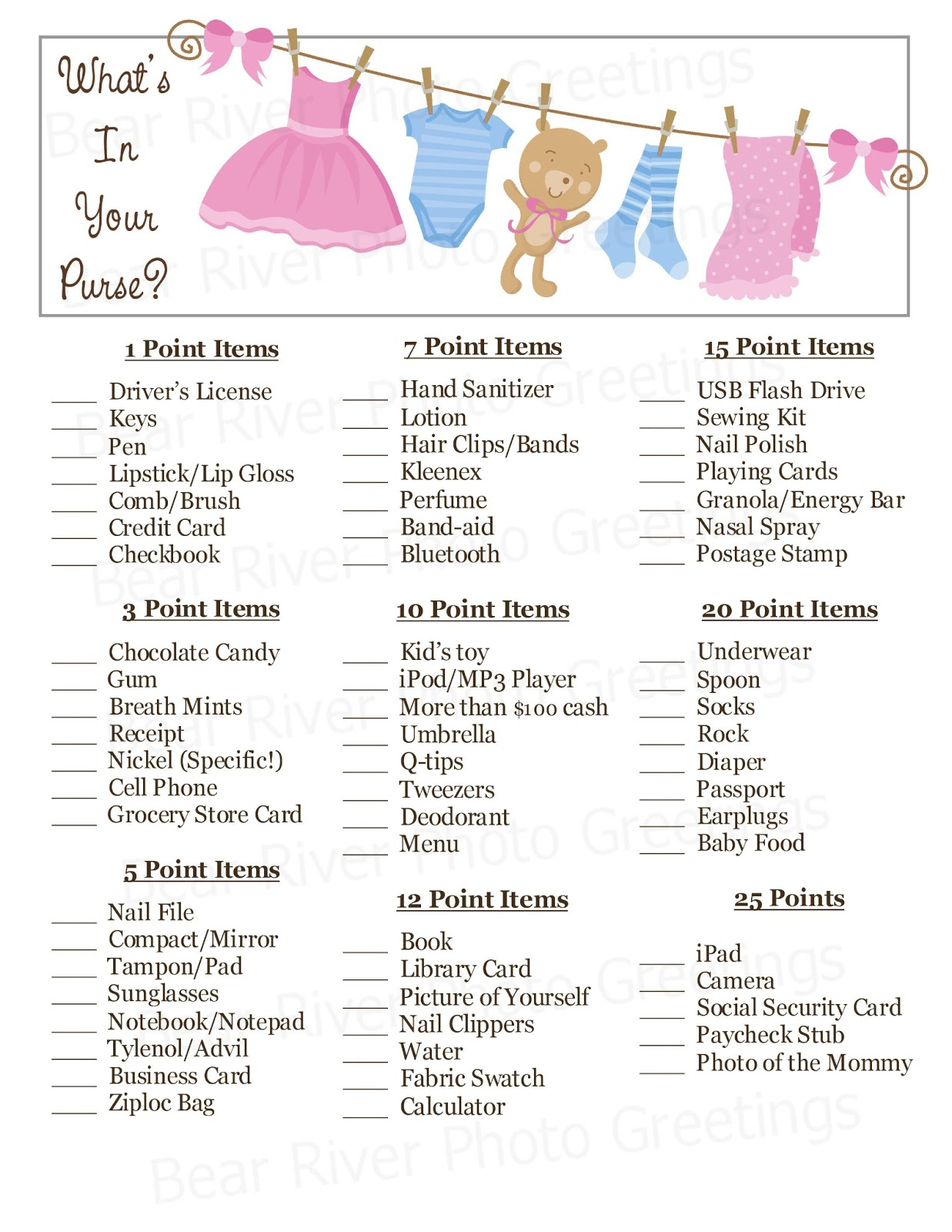 Bear River Photo Greetings: 2013 - Free Printable Baby Shower Game What's In Your Purse