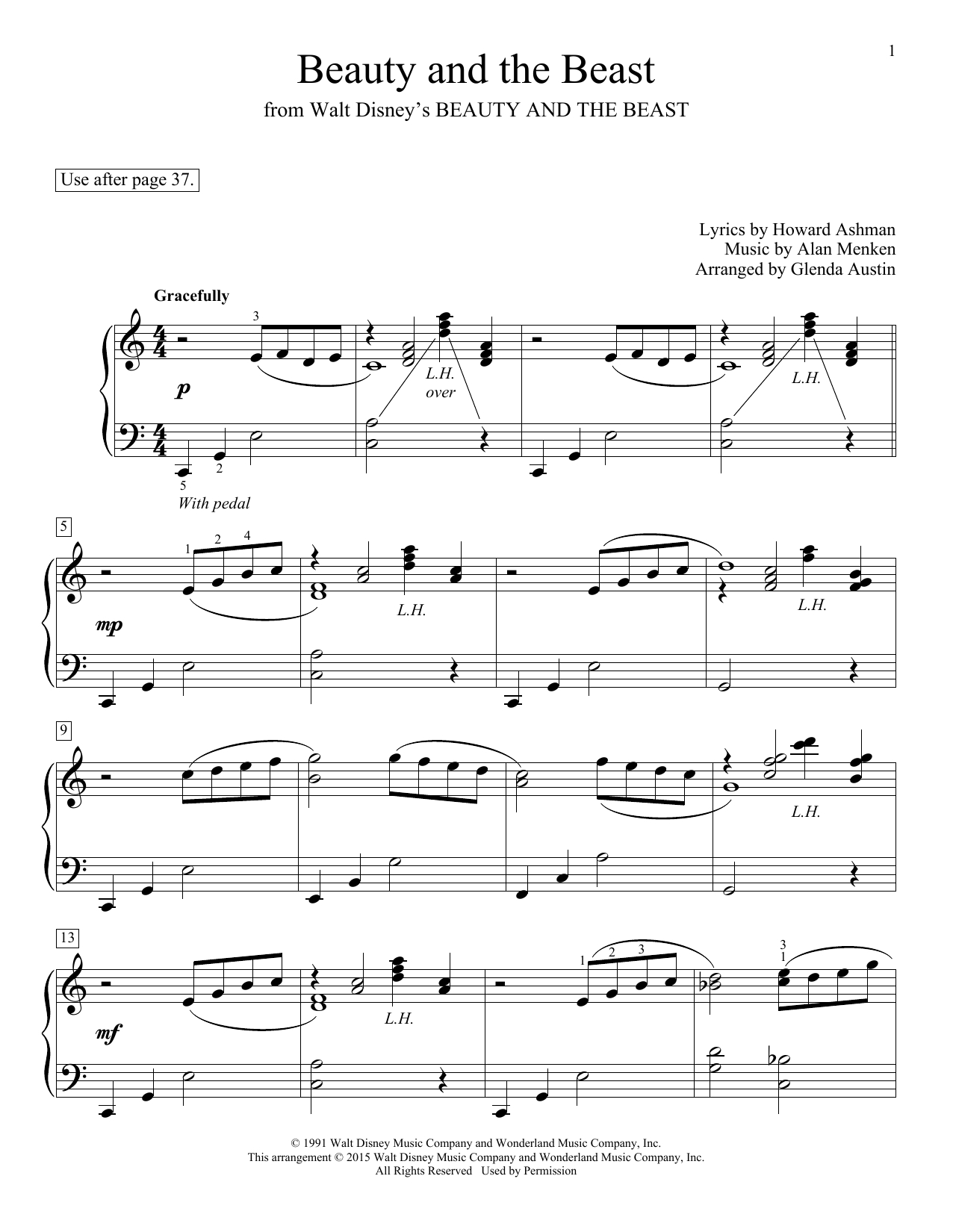 Beauty And The Beast Piano Sheet Musicceline Dion & Peabo Bryson - Beauty And The Beast Piano Sheet Music Free Printable