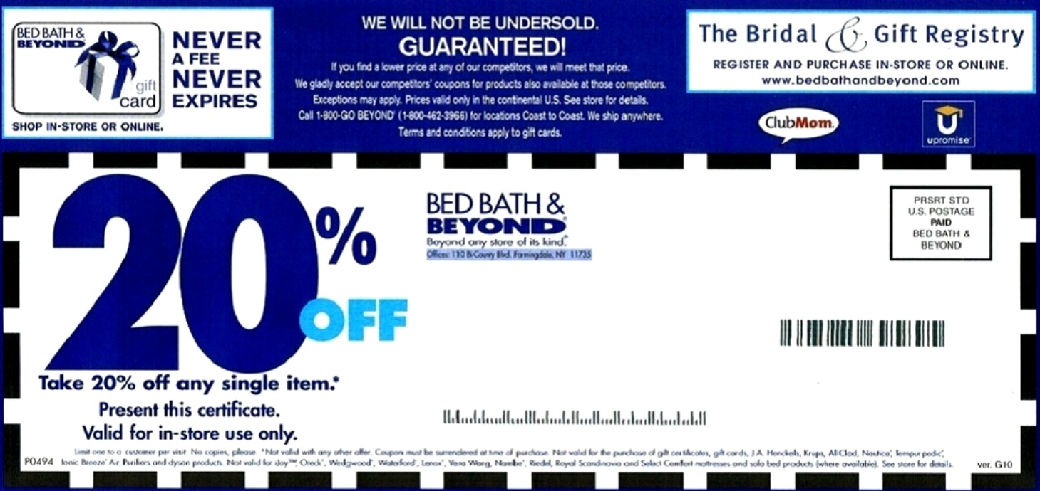 Bed Bath And Beyond Coupons - Free Printable Bed Bath And Beyond Coupon 2019