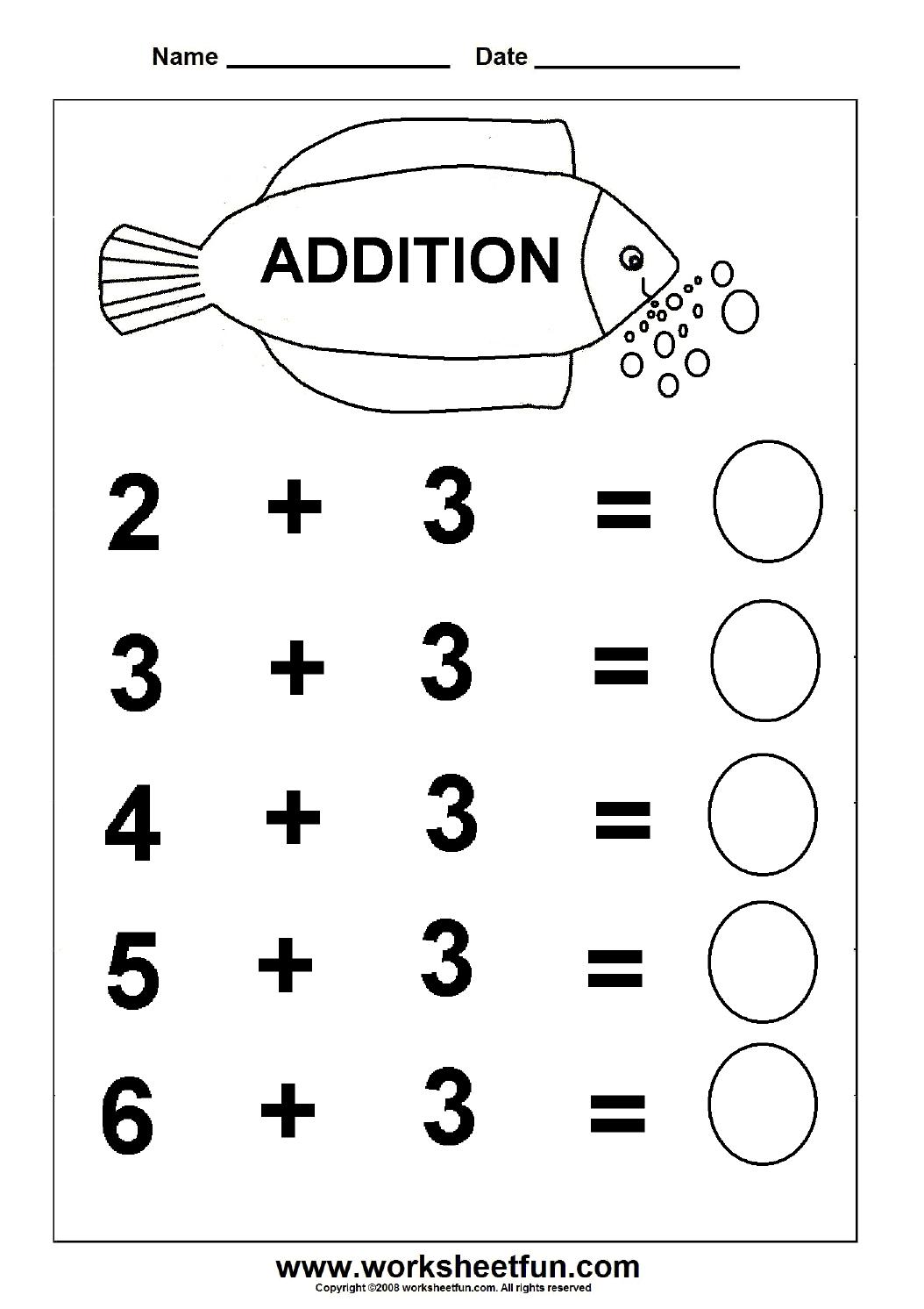 Beginner Addition – 6 Kindergarten Addition Worksheets / Free - Free Printable Math Addition Worksheets For Kindergarten