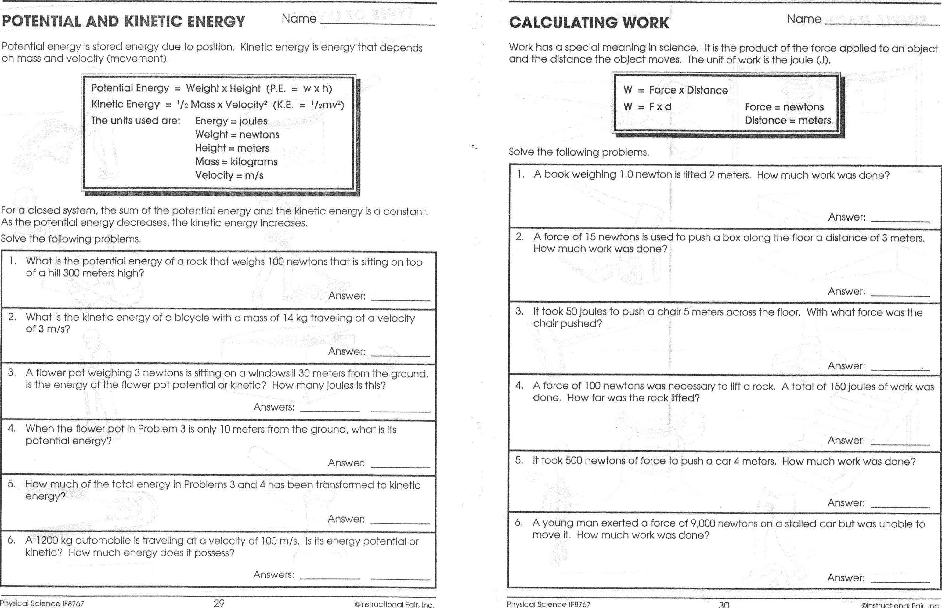 Best Of Potential Vs Kinetic Energy Worksheet Answers New Collection - Free Printable Worksheets On Potential And Kinetic Energy