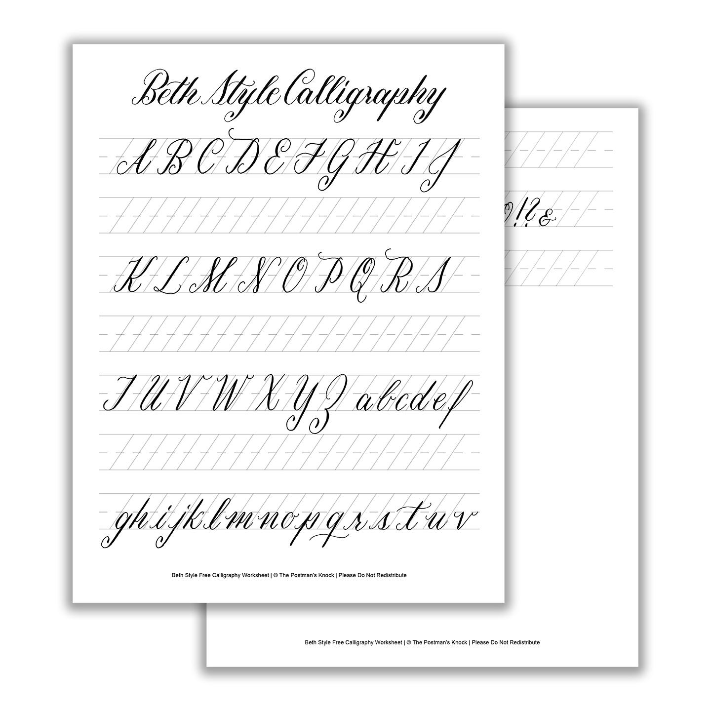 Beth Style Calligraphy Standard Worksheet   The Postman's Knock - Free Printable Calligraphy Worksheets