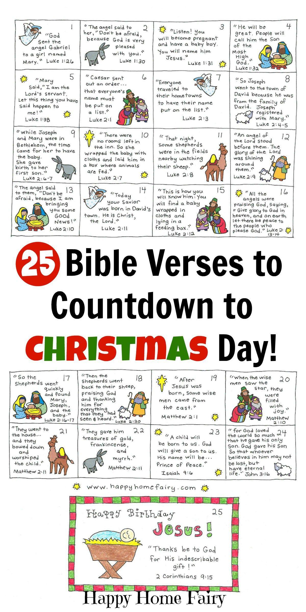 Bible Verse Advent Countdown For Kids - Free Printable   Christmas - Free Printable Nativity Story