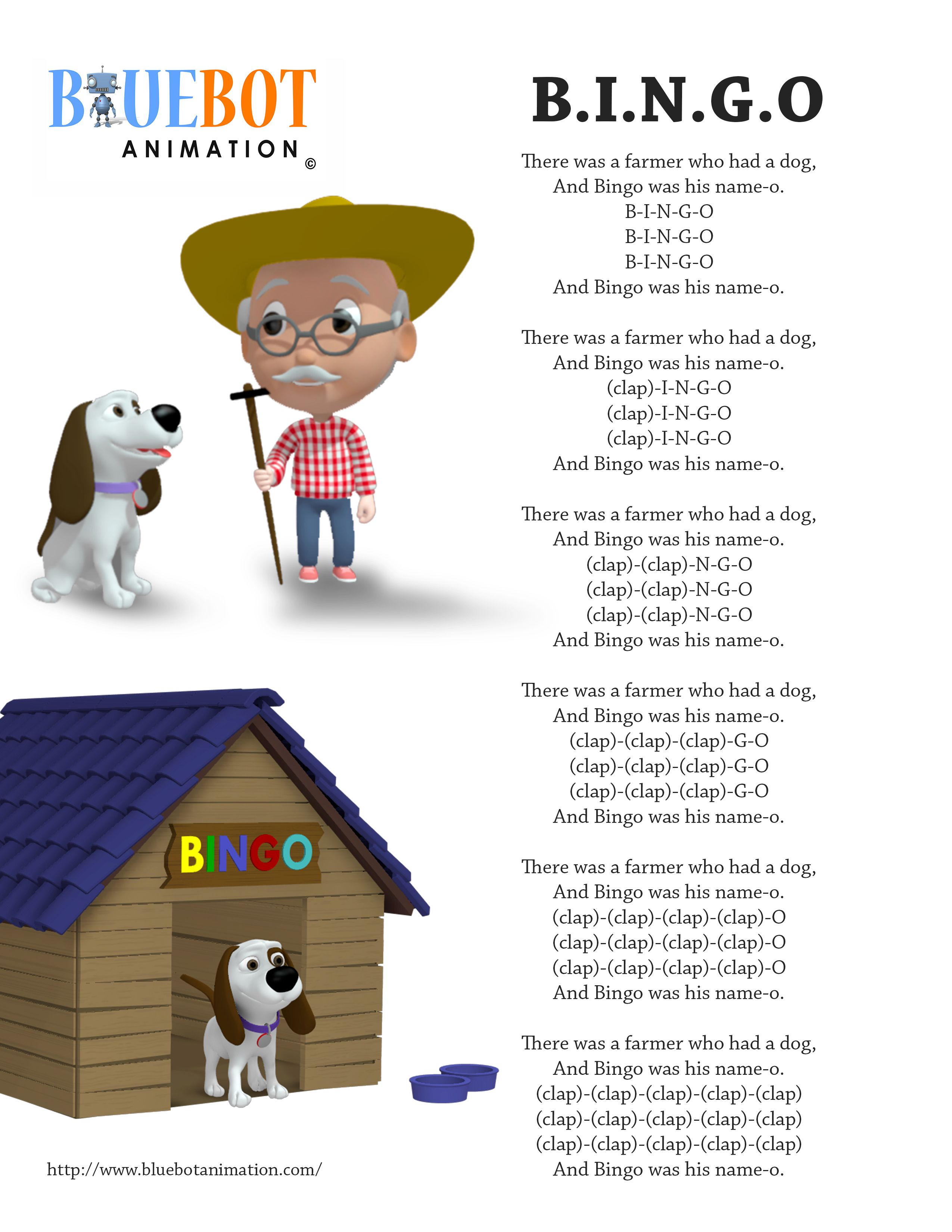 Bingo / B.i.n.g.o Nursery Rhyme Lyrics Free Printable Nursery Rhyme - Free Printable Nursery Rhymes Songs