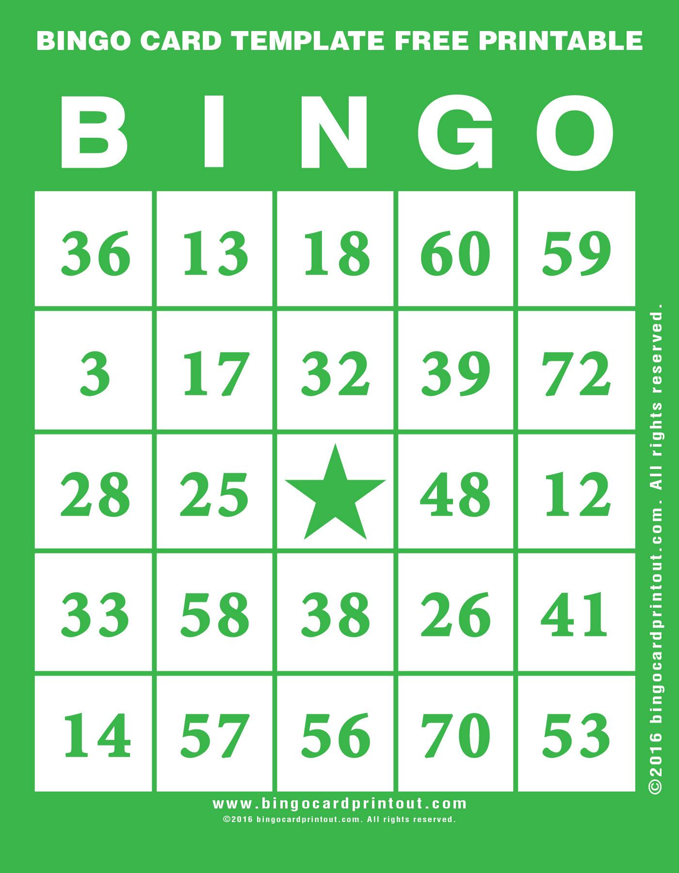 Bingo Card Template Free Printable - Bingocardprintout - Printable Bingo Template Free
