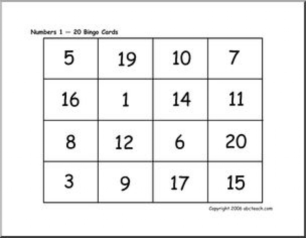 Bingo Cards: Numbers 1-20 | Abcteach Throughout Free Printable - Free Printable Number Bingo Cards 1 20