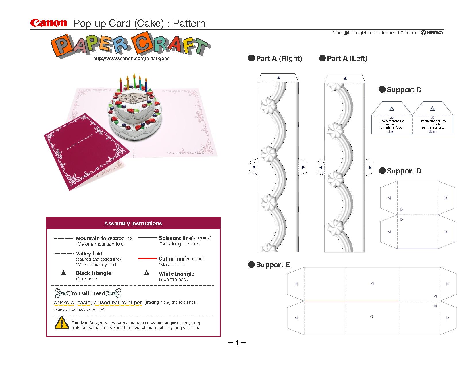 Birthday Cake Pop-Up Card Template | Cards | Pop Up Card Templates - Free Printable Birthday Pop Up Card Templates