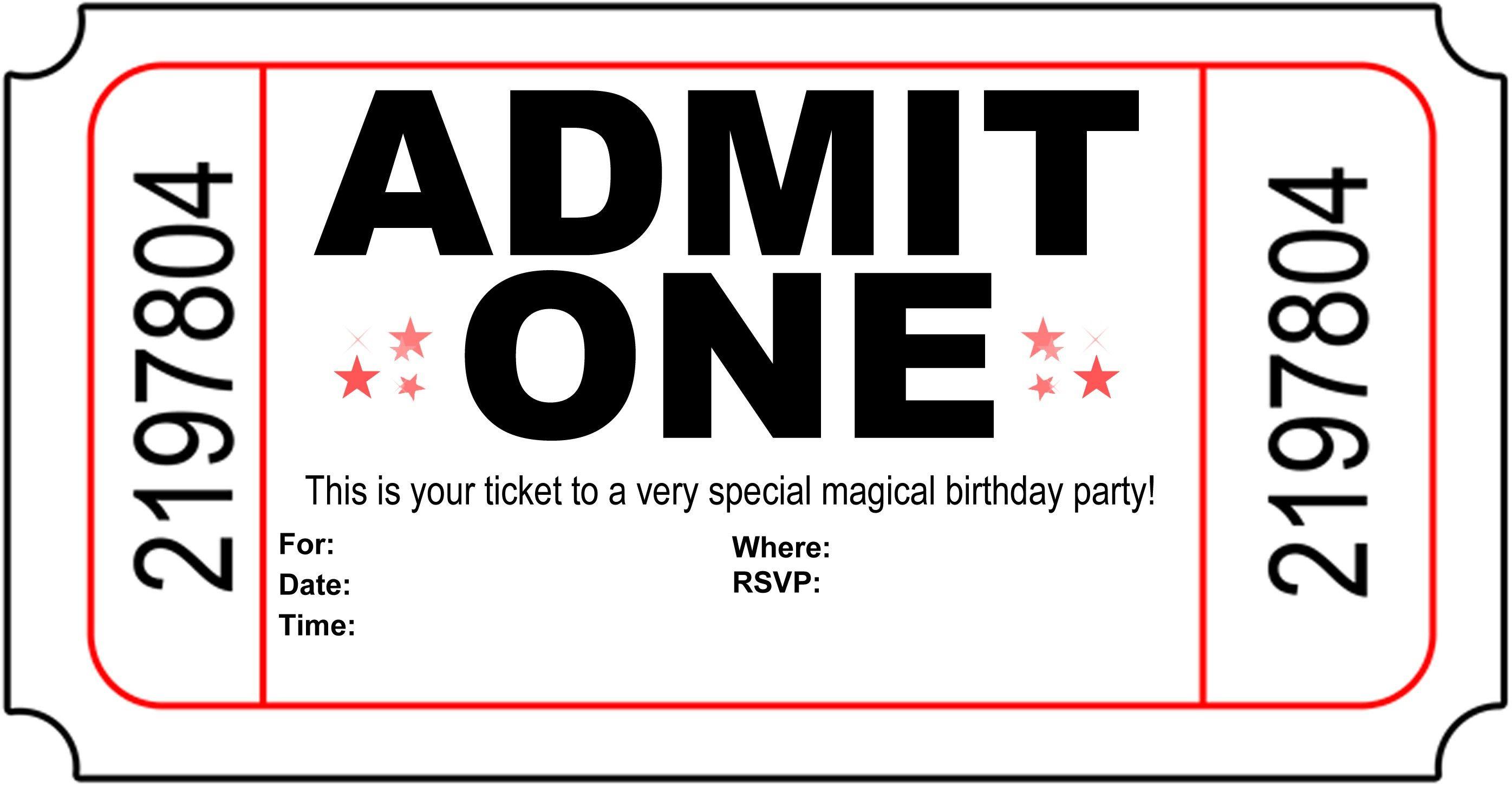 Birthday Party Invitation Free Printable | Printshop. | Pinterest - Free Printable Movie Ticket Birthday Party Invitations