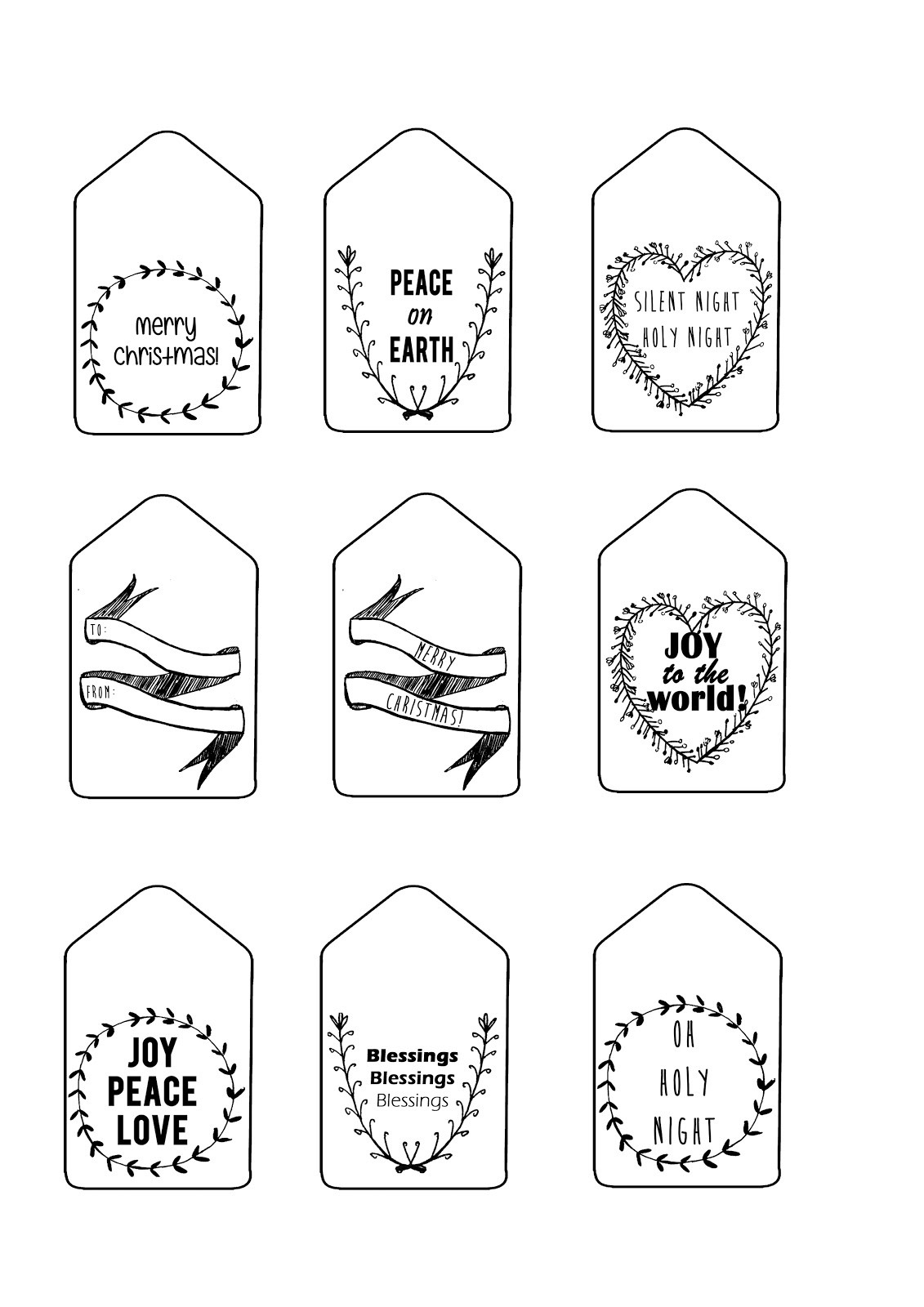 Black And White Christmas Gift Tags   Dezineappz - Christmas Gift Tags Free Printable Black And White