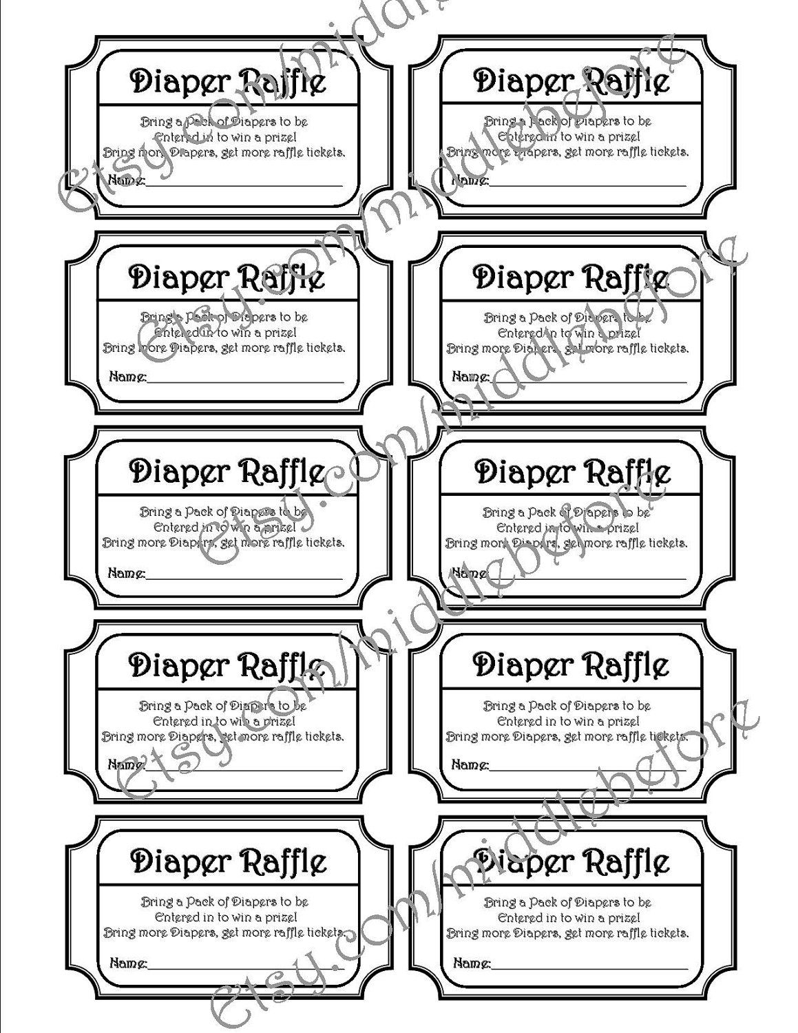 Black & White Printable Baby Shower Diaper Raffle Ticket. Via Etsy - Free Printable Diaper Raffle Tickets Black And White