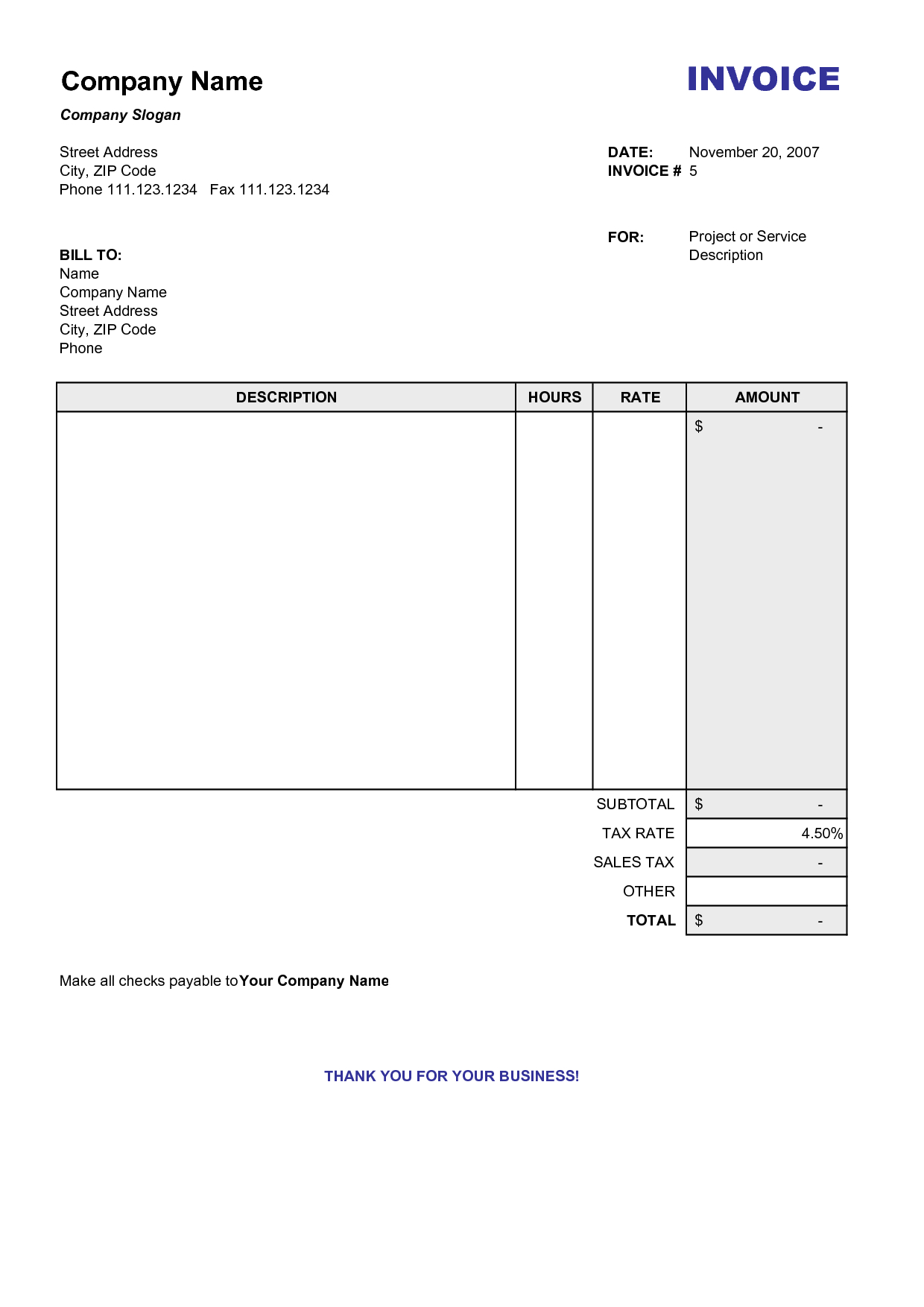 Blank Billing Invoice | Scope Of Work Template | Organization - Free Bill Invoice Template Printable