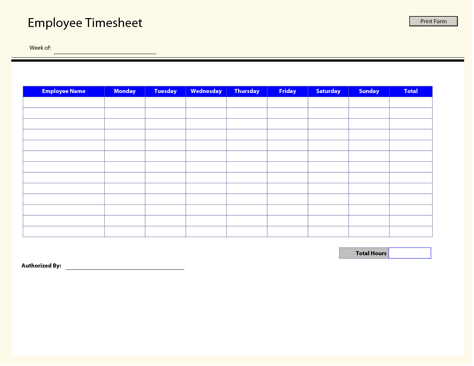 Blank Employee Timesheet Template | Management Templates | Pinterest - Free Printable Time Sheets Forms