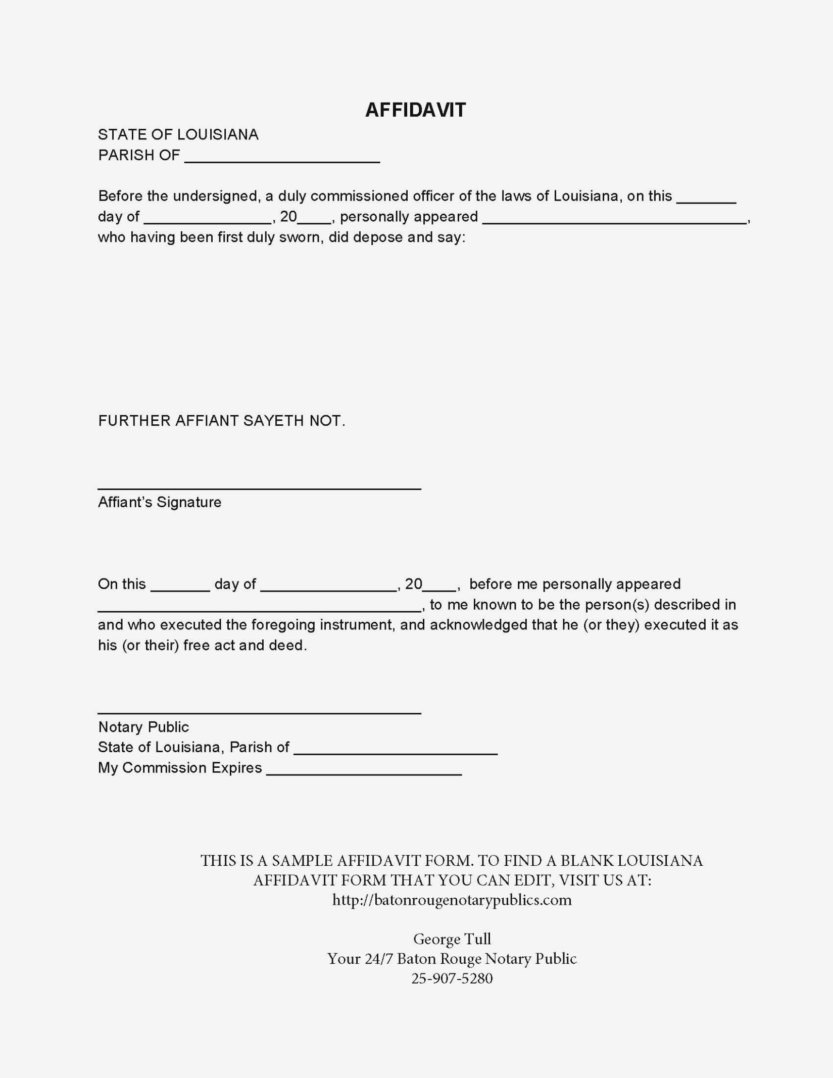 Blank Louisiana Affidavit | Baton Rouge Notary Publics – Sample - Free Printable Divorce Papers For Louisiana