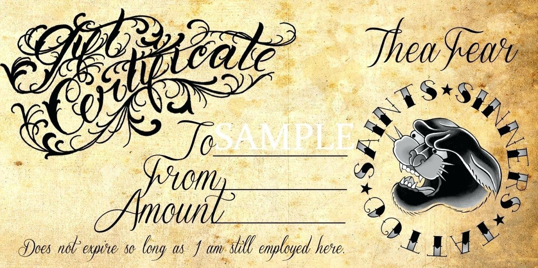 Blank Tattoo Gift Certificate Template Tattoo Gift Certificate - Free Printable Tattoo Gift Certificates