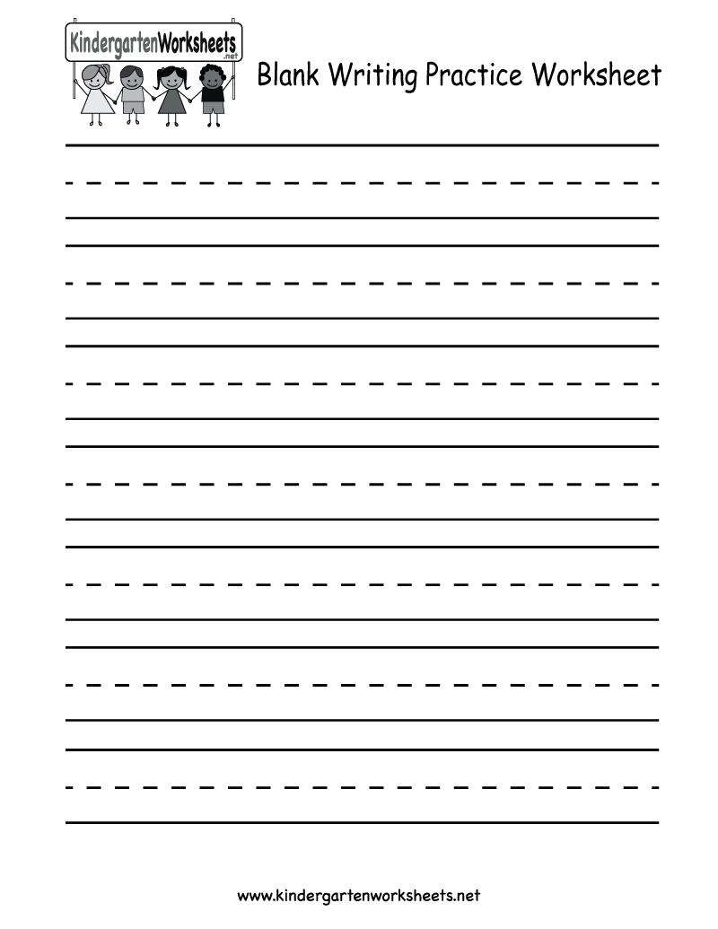 Blank Writing Practice Worksheet - Free Kindergarten English - Free Printable Blank Handwriting Worksheets