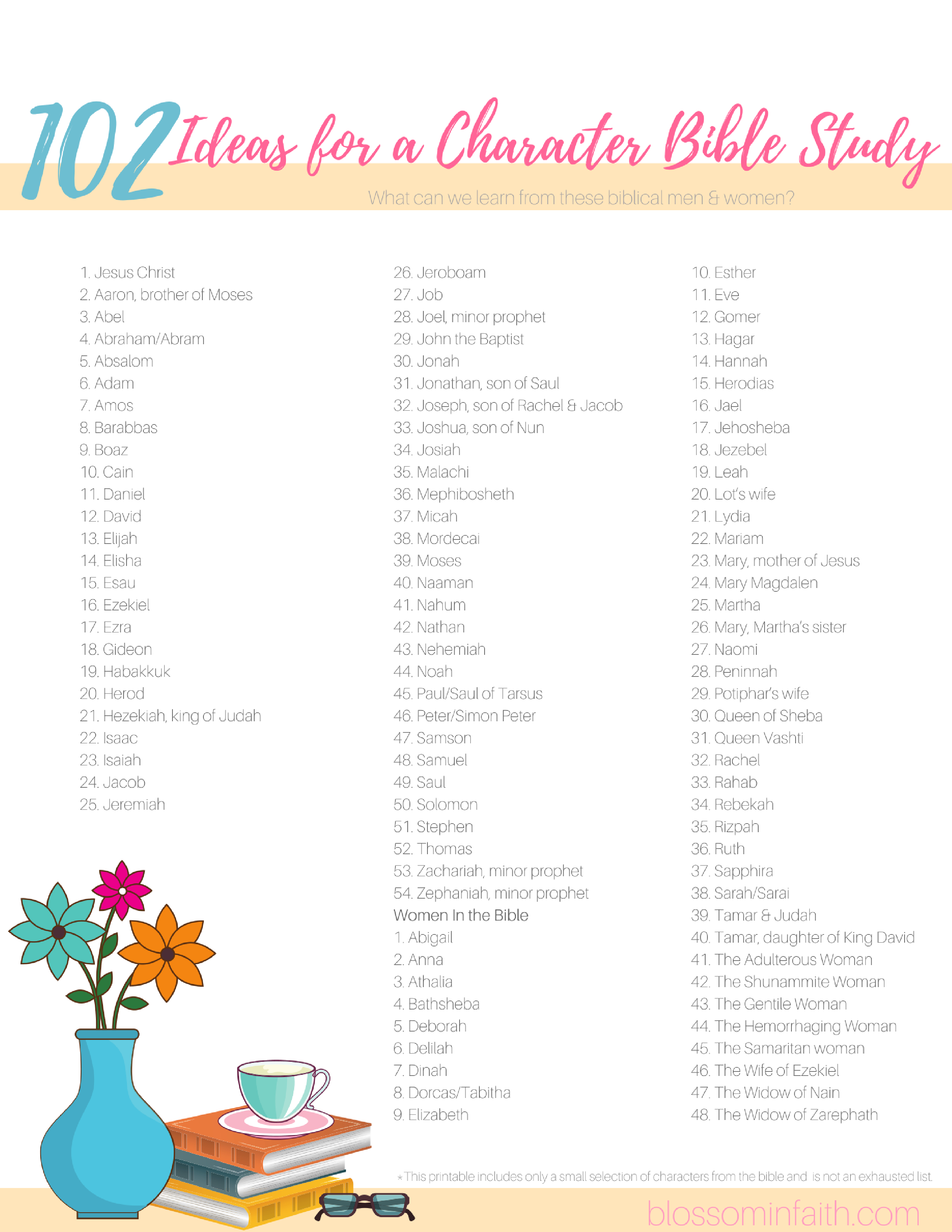 Blossom In Faith ~ 102 Ideas For A Character Bible Study - Free Printable Bible Studies For Men