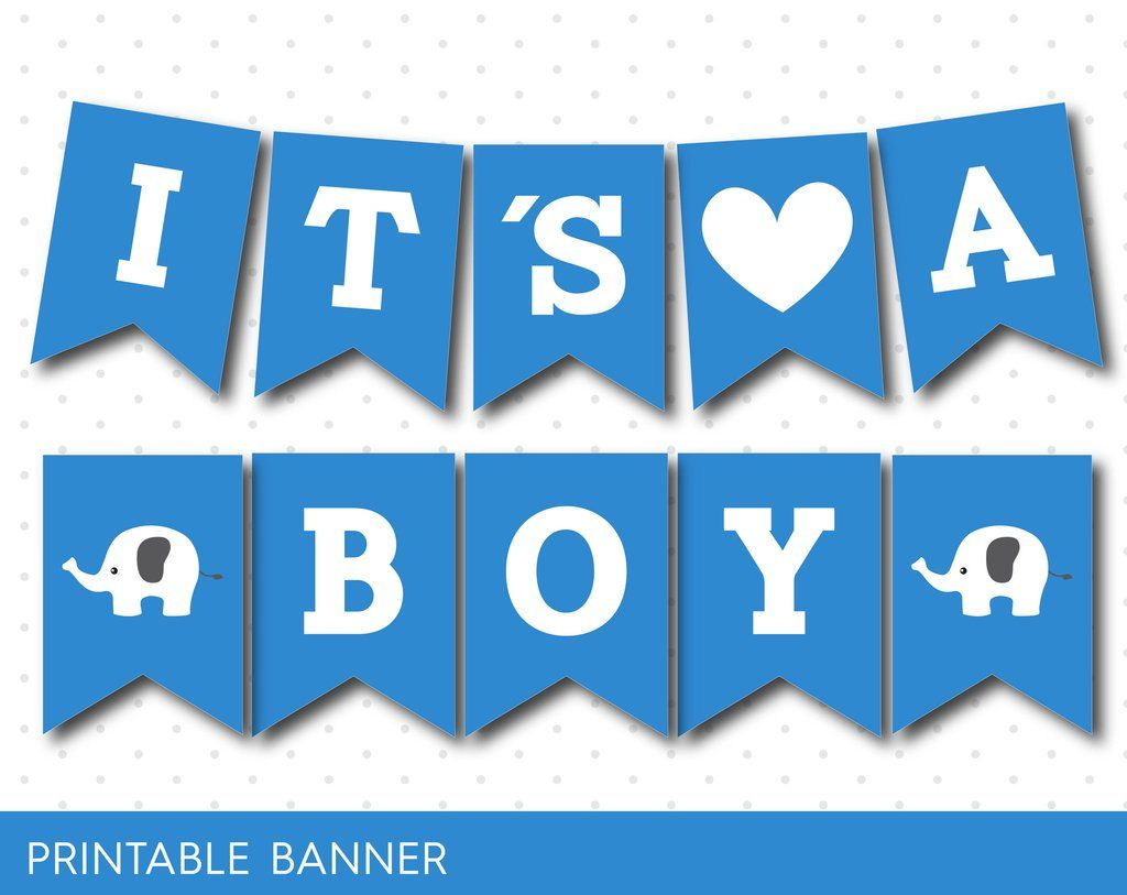Blue Baby Shower Banner With Letters And Numbers, Elephant Printable - Free Printable Baby Shower Banner Letters