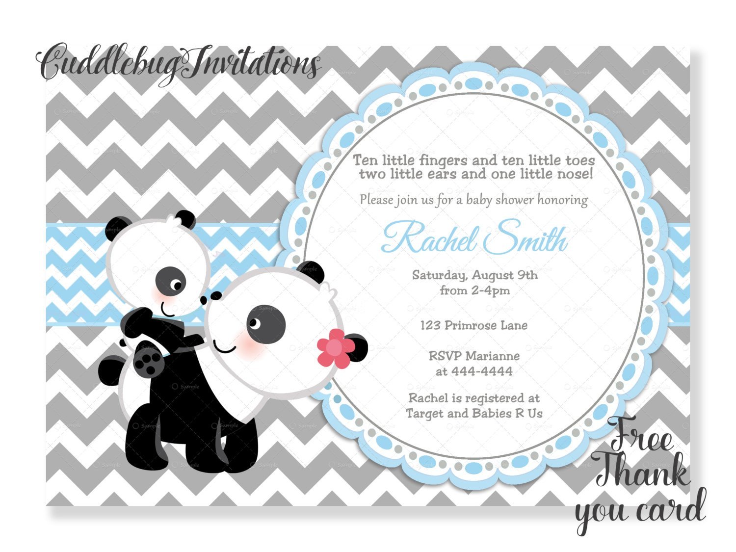 Blue Boy Panda Baby Shower Invitation Panda Bear Baby Boy Shower | Etsy - Panda Bear Invitations Free Printable