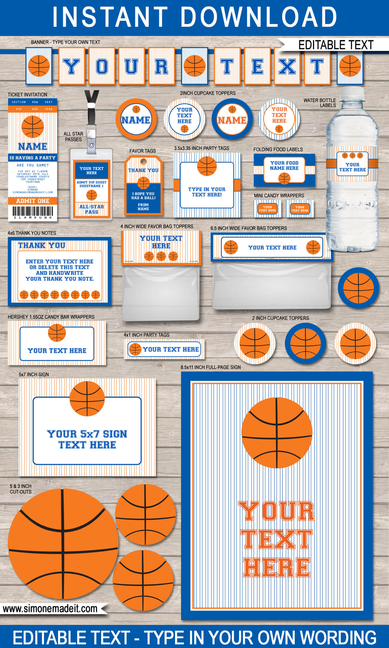 Blue Orange Basketball Printables, Invitations & Decorations - Basketball Invites Free Printable