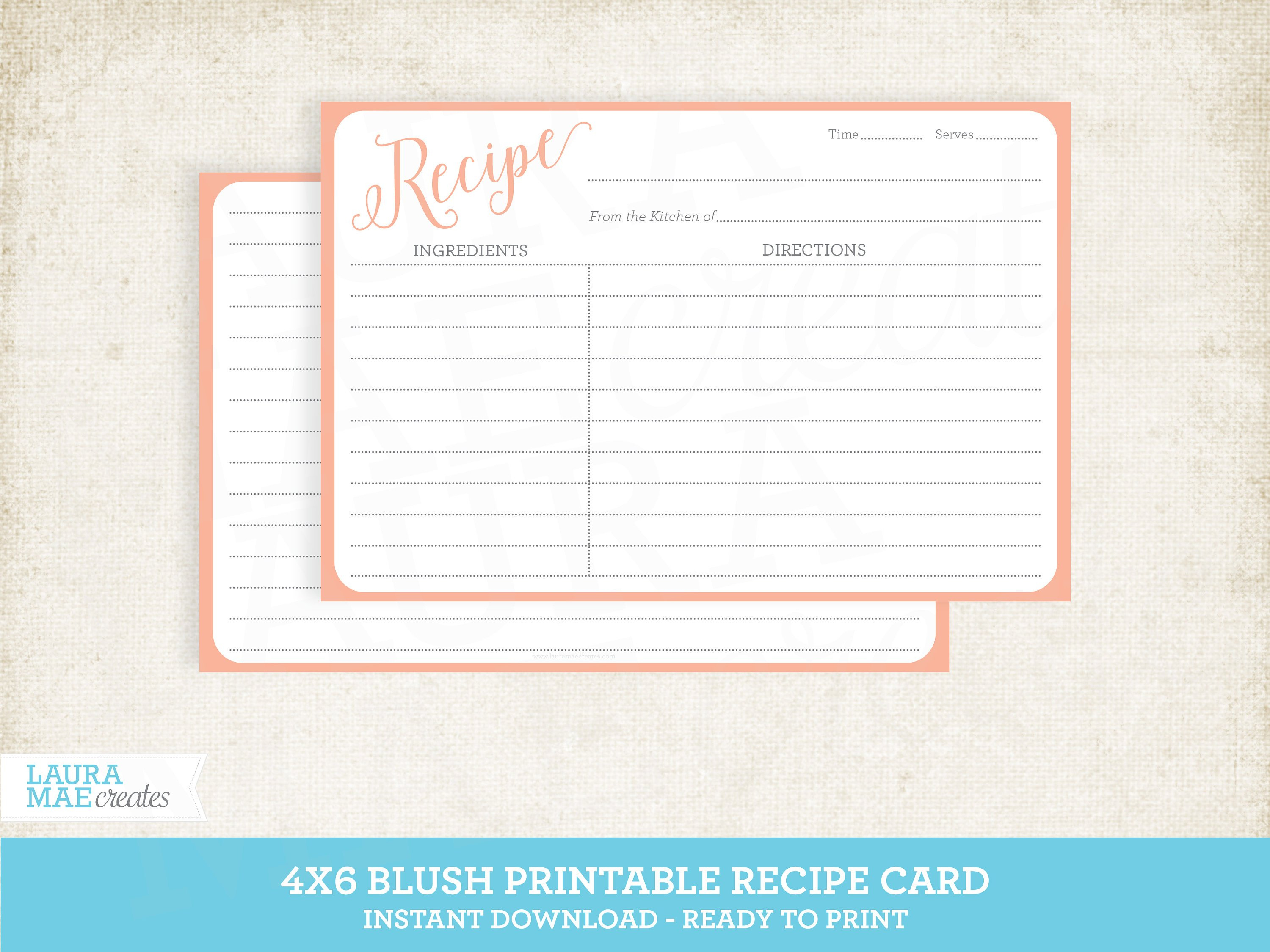 Blush 4X6 Printable Recipe Card Editable Recipe Card Free | Etsy - Free Printable Photo Cards 4X6