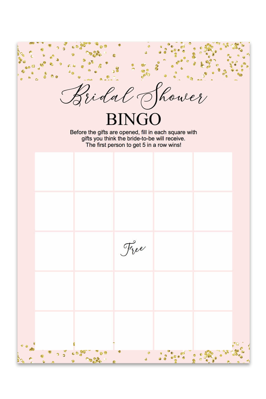Blush And Confetti Bridal Shower Bingo - Chicfetti - Free Printable Bridal Shower Bingo