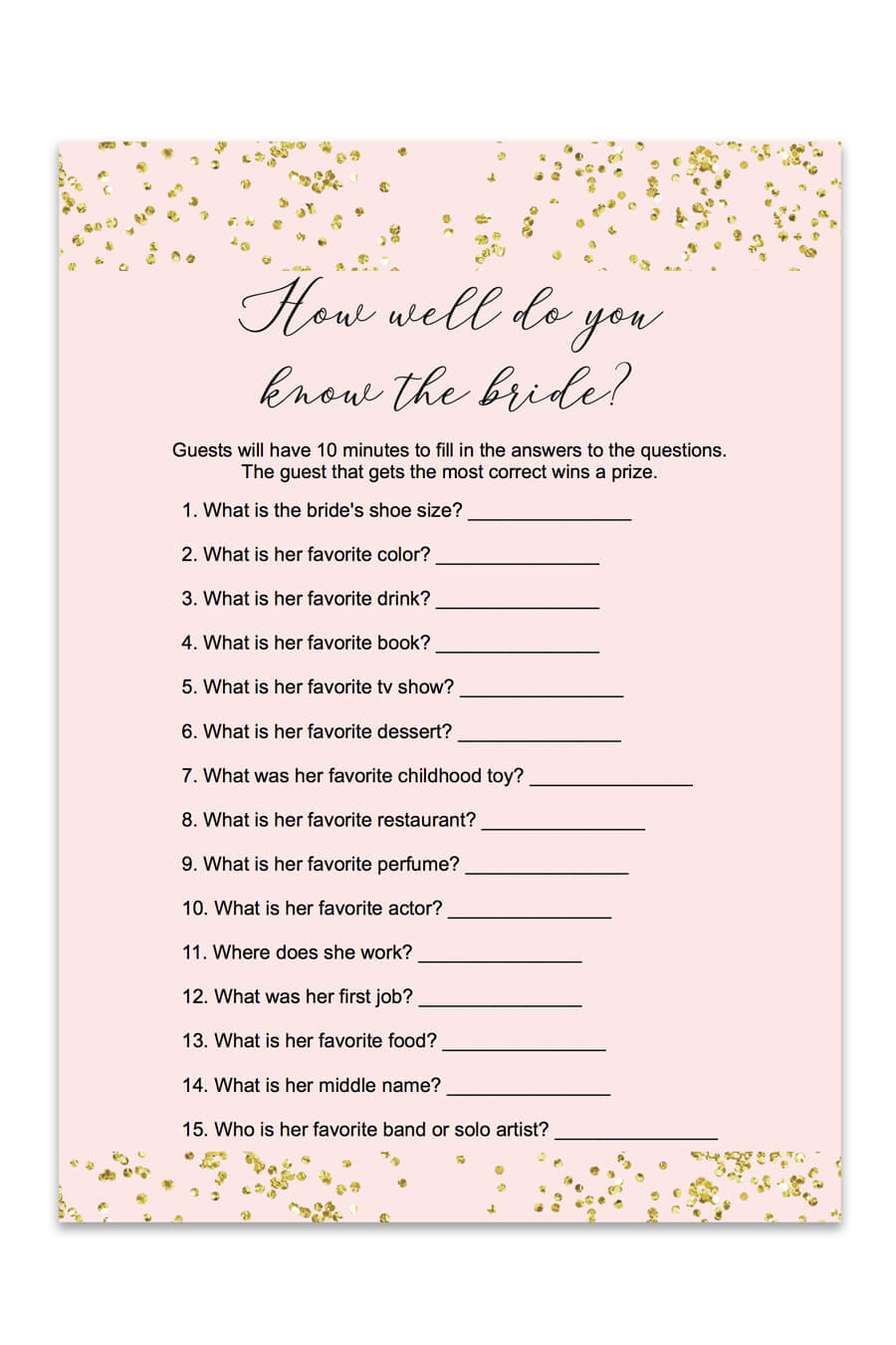 Blush And Confetti How Well Do You Know The Bride Game - Chicfetti - How Well Do You Know The Bride Free Printable