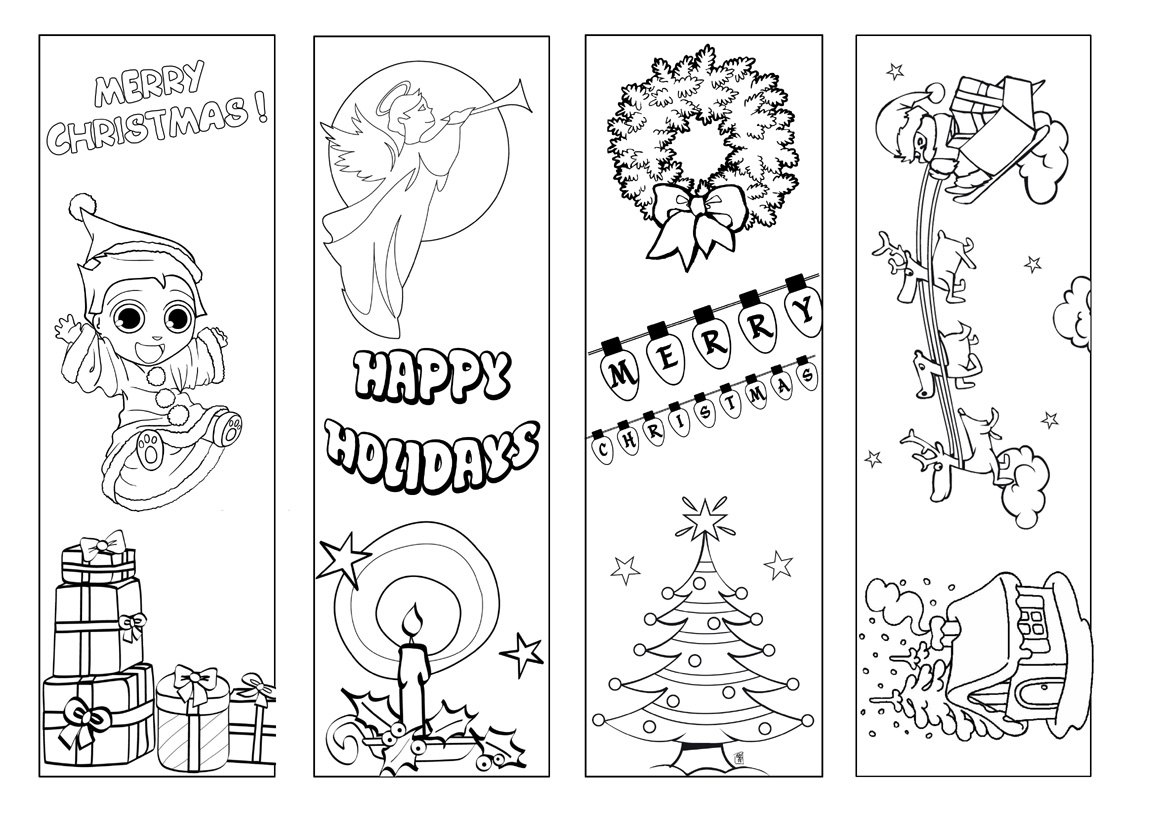 Bookmarks | Beyond Survival In A School Library - Free Printable Christmas Bookmarks To Color