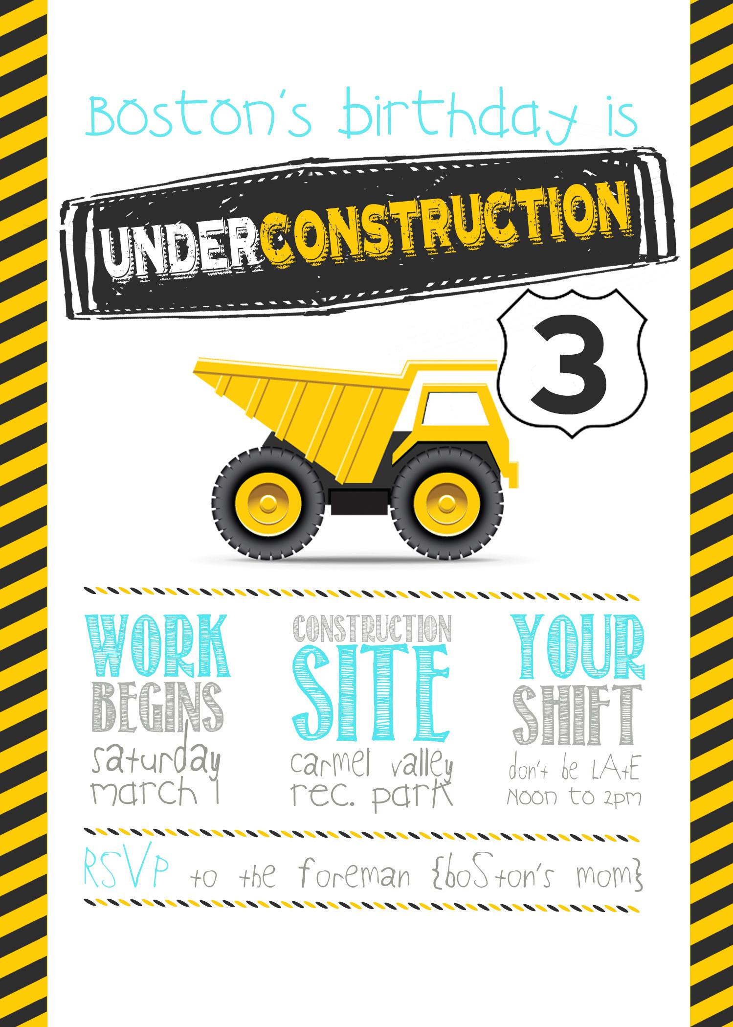 Boss Rd Birthday Invite Construction Party Best Construction - Free Printable Construction Birthday Invitation Templates