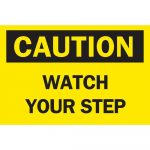 Brady 10 In. X 14 In. Plastic Caution Watch Your Step Osha Safety   Osha Signs Free Printable