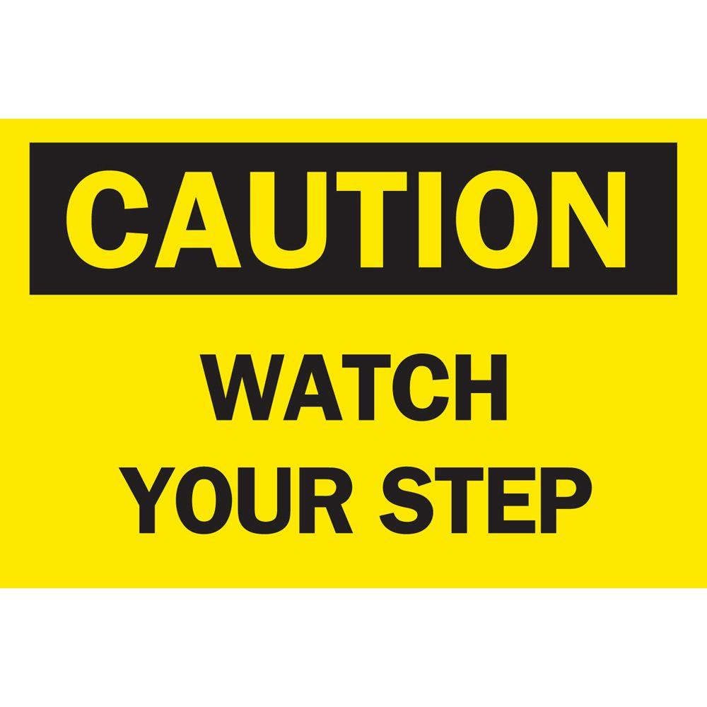 Brady 10 In. X 14 In. Plastic Caution Watch Your Step Osha Safety - Osha Signs Free Printable
