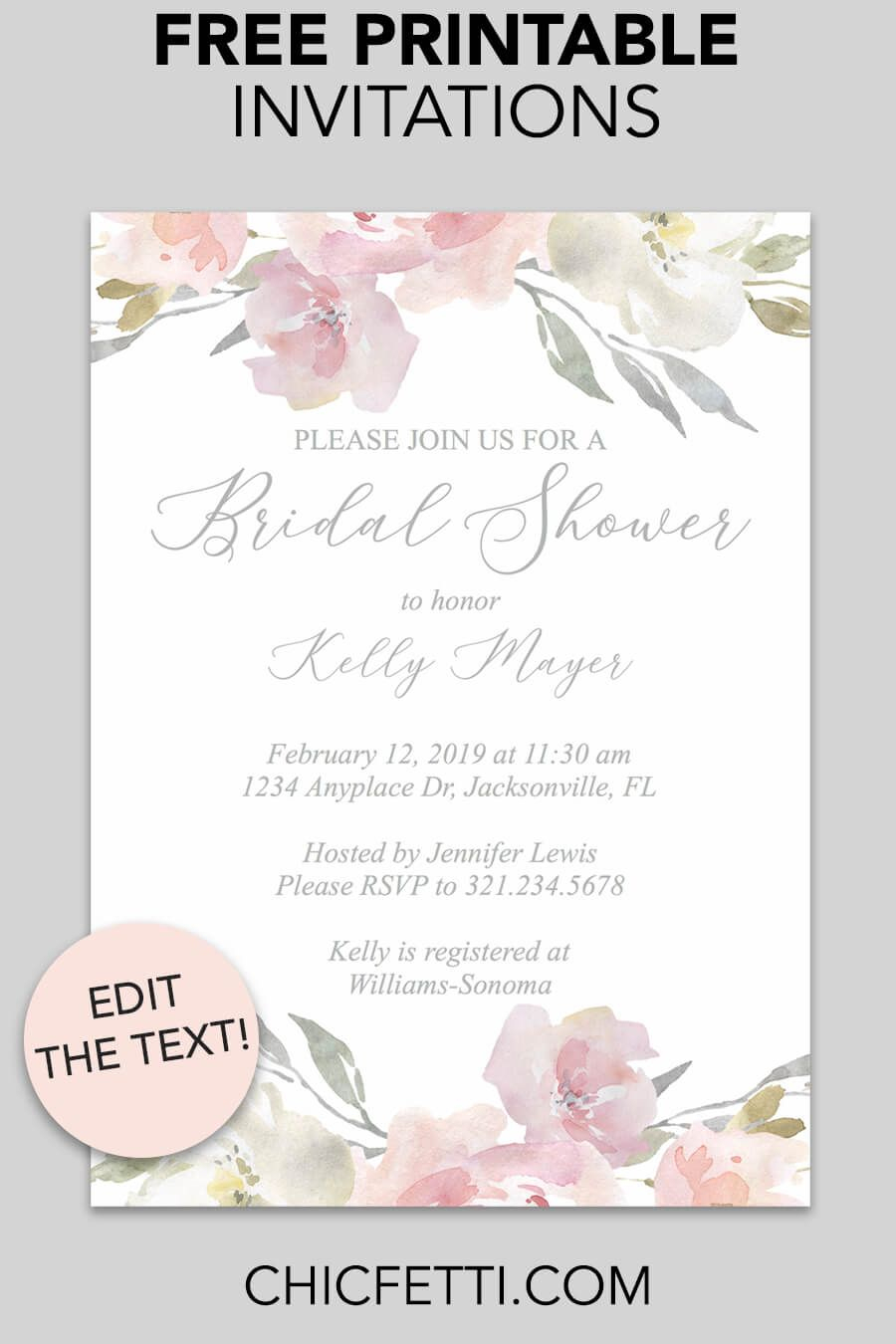 Bridal Shower Printable Invitation (Blush Floral   Invitations - Free Printable Bridal Shower Invitations Templates